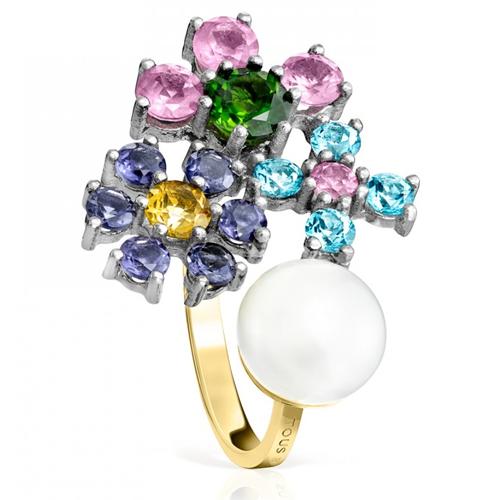 Anillo modelo Real Sisy en titanio y oro con perla engarzada y gemas de colores