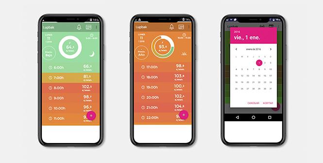 Captura de la app LupBak para consultar el precio de la luz por horas
