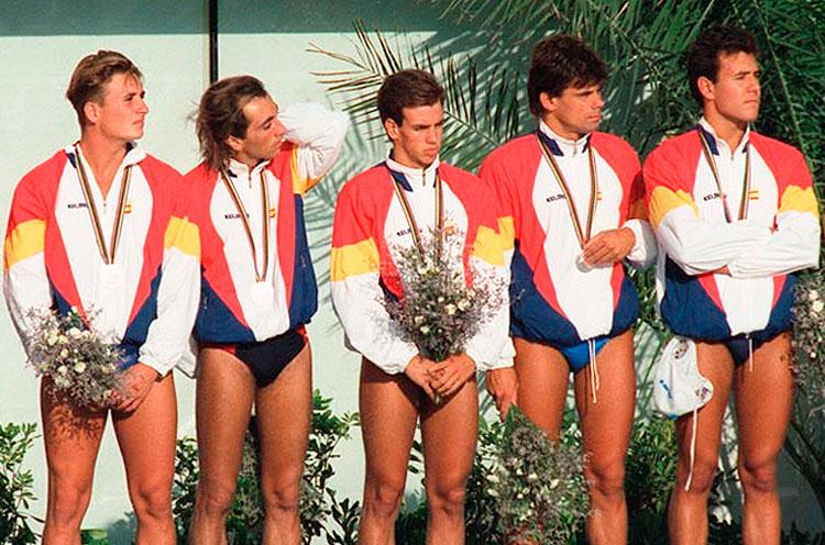 Dani Ballart con la selección de waterpolo en los Juegos Olímpicos de Barcelona 92